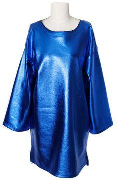 Shining Dress (2 Colors)  | Fall & Winter | Dolly & Molly | www.dollymolly.com | #shining #leather #blue #silver #metallic #rock #fashion #vogue #catwalk #runway #model