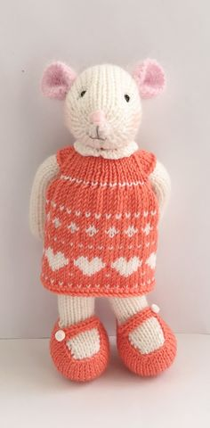 Knitted mouse girl with removable knitted dress and pink fluffy ears perfect for Easter gift by Nodnook on Etsy Etsy Uk, Easter Gift, Little Dresses, Small Businesses, Knit Dress, Ears, Bunny, Buy And Sell, Teddy Bear