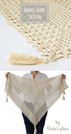 The Awana shawl is light and airy, a perfect accessory for a summer night out. It can also be a wedding accessory. The crochet pattern is very detailed with lots of step-by-step pictures. Crochet Shawls And Wraps, Crochet Poncho, Crochet Scarves, Crochet Yarn, Crochet Clothes, Crotchet Patterns, Shawl Patterns, Wrap Pattern, Knitting Accessories