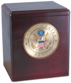 Urns Northwest  - The Freedom Urn, $169.00 (http://urnsnw.com/the-freedom-urn/). Rosewood. Made in the USA. Choice of Army, Air Force, Navy, Marine Corps or Fire Department medallion.