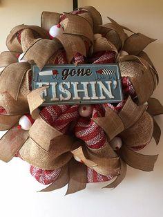 Gone Fishin' Deco Mesh Wreath by Gypsy505Soul on Etsy