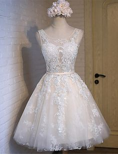 A-line Wedding Dress Knee-length Scoop Lace / Tulle with Lace / Sash / Ribbon 4976133 2017 – $79.99