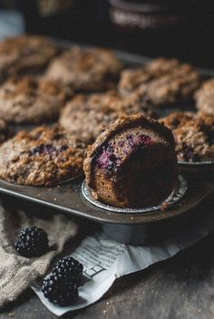 blackberry sour cream bran muffins