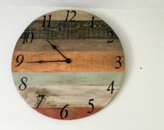 White Pastel Rustic Wall Clock Large Wall Clock by StoriaDellOrso
