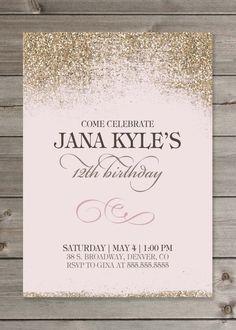 Girl's Birthday Party Glitter Invitation by GaiaDesignStudios