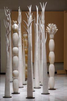 'Bosques de ilusiones' (2009) Totemic sculptures by ceramic artist Mariana Velazquez. via mataortizartgallery