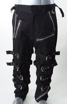 fd50f0391853aa Dead Threads Men's Black Goth Punk Morte Pants Buckle Chain Trousers Sz M # DeadThreads #