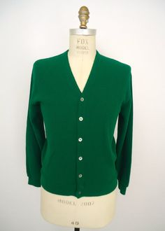 2e934d1f8a Bold Green Cardigan Sweater   vintage Pine State prep golf sweater   men s  small