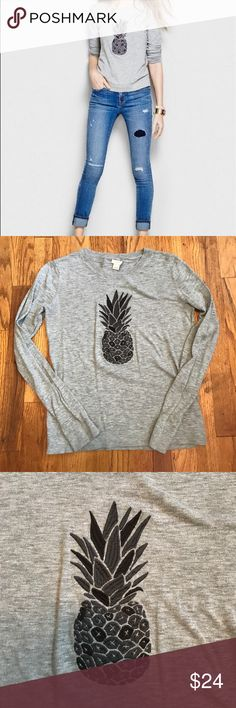 J Crew Factory Pineapple Gray Sweater J Crew Factory -- EUC -- Size Small -- Gray -- Pineapple Embroidered -- Long Sleeve Lightweight Sweater -- 100% Cotton -- Length 23 in -- Bust 34 in J. Crew Factory Tops