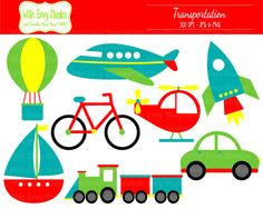 Transportation Clipart, Travel Clipart, Vehicle Clip art, Boat Clipart, Airplane Clipart, Commercial Use on Etsy, $3.50