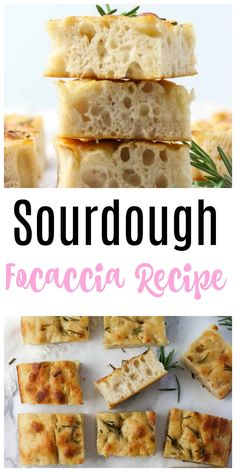Easy Sourdough Focaccia Bread Recipe (Perfect For Beginners!). It's so simple, and no knead. Just stir together and let it rise overnight. Best Homemade Bread Recipe, Tasty Bread Recipe, Yeast Bread Recipes, Quick Bread Recipes, Easy Bread, Baking Recipes, Snack Recipes, Easy Recipes, Dinner Recipes