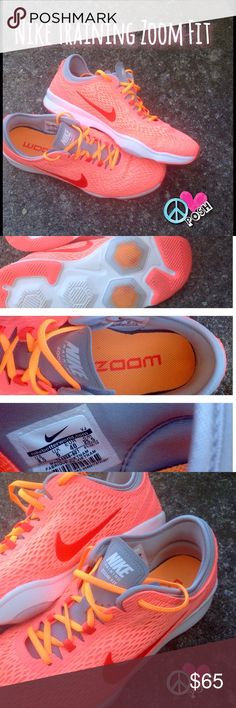 Nike Training ZOOM FIT 💗✔️ Nike Training ZOOM FIT 💗✔️ Tag 8.5 BUT FITS BEST at Size 8 ✔️ Neon Salmon Pink w/ Hot Pink Swoosh ✔️ 💗 A-1  Perfect Condition 💗   ❌❌ NO TRADE ❌❌ Nike Shoes Athletic Shoes