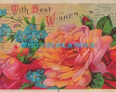 Digital Library: Edwardian Era Best Wishes Postcard Image With Beautiful Rose Blossoms. This Card Image is Circa - Edit Listing - Etsy Birthday Roses, Happy Birthday, Vintage Birthday Cards, Colorful Roses, Craft Corner, Beautiful Roses, Pansies, Vintage Postcards, Blossoms