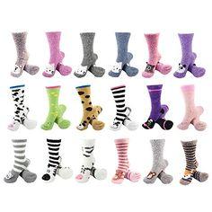 Super Soft Warm Cute Animal Non-Slip Fuzzy Crew Winter Home Socks - Assortment 3 Pairs - Value Pack