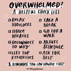 Self Care Sunday: A great reminder checklist for when you are feeling overwhelmed. Affirmations, Self Care Activities, Self Care Routine, Coping Skills, Self Improvement, Self Help, Feel Good, Leadership, Mental Health