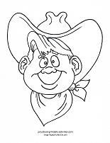 "Free cowboy coloring pages and more with a ""western theme"". Color a cowboy, cowboy hat, boot, horse-shoes, covered wagons, campfire and more..."