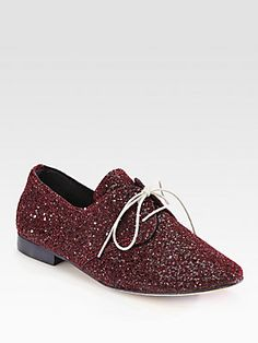 Anniel Jazz Glitter Lace-Up Oxfords