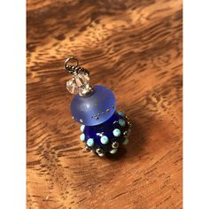 Necklace blue glass art lampwork stacked beads with crystals ($25) ❤ liked on Polyvore featuring jewelry, necklaces, glass bead necklaces, stacked necklaces, glass jewelry, beading jewelry and blue jewellery