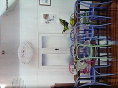 Perfect chairs for our dining room - love the chair colours