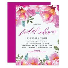 Modern Floral Spring Bridal Shower Invitation - floral bridal shower gifts wedding bride party