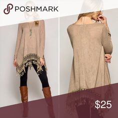Fringe Tunic Long sleeve Tunic with Crochet fringe trim. Tops Tunics