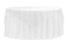"""72"""" Square Quaker Lace Table Overlay Topper - White ● $10.99 ● Available from www.cvlinens.com"""