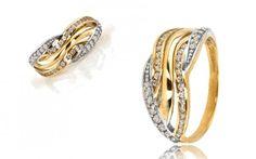 Zlatý prsteň so 46 Swarovski kryštáľmi zo 14 karátového zlata