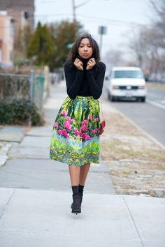 Polo neck: Gap.  Skirt: Asos.  Shoes: Steve Madden.  Bag: Valentino