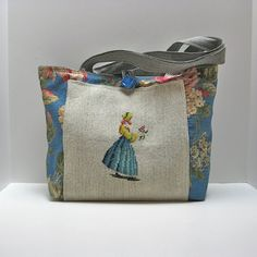 Tote Bag with Vintage Needlepoint by JackieSpicer on Etsy, $45.00