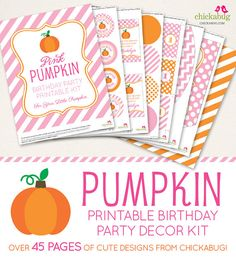 Pink Pumpkin Birthday Party printable decor kit  Over by Chickabug