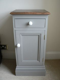 Shabby Chic Bedside Cabinet Pot Cupboard Painted In Annie Sloan French Linen