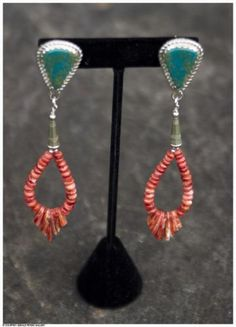 Jimmy Calabaza (Santa Domingo Pueblo), Turquoise Earrings with Spiney Oyster Shell Beads, 4 x 3/4 x 1/4 each. At the Gerald Peters Gallery, Santa Fe, NM.