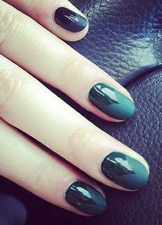 glossy and matte black nail art.