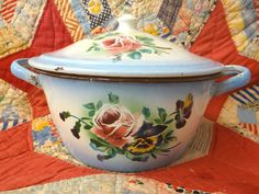 VINTAGE ENAMELWARE FRENCH JAPY BOWL W/ LID ROSES PANSIES FLOWERS BLUE SHADED