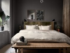Bedroom Ideas with Grey walls & wondering how do you decorate your Bedroom & House with these Tips. Bedroom Ideas with Grey walls read NOW. Rustic Bedroom Design, Bedroom Designs, Modern Bedroom, Dark Cozy Bedroom, Dark Walls, Grey Walls, Bedroom Furniture, Bedroom Decor, Cheap Furniture