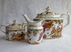 Royal Crown Derby Olde Avesbury Tea set: 56 oz Teapot, Covered Sugar, Creamer #RoyalCrownDerby