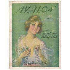 Avalon Vintage 1920s Sheet Music by Al Jolsen Frederick Manning Cover Art