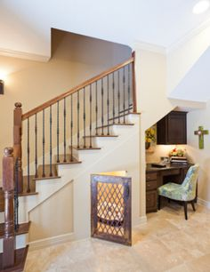 Creative Tonic love space for pet under stairs and metal gate! http://livininsd.com/wp-content/uploads/2013/04/dog_place_under_stairs.png