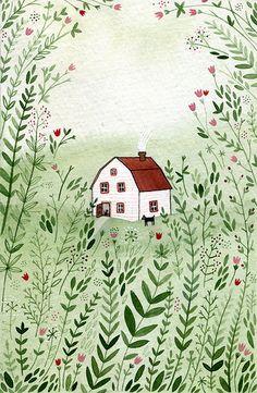 White farmhome illustration
