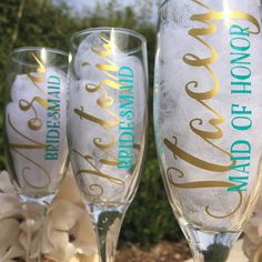 Bridesmaid champagne glasses, personalized champagne glasses, bridesmaid proposal, bridesmaid gift idea by LouDeeBelles on Etsy https://www.etsy.com/listing/262664984/bridesmaid-champagne-glasses