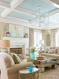Dress up blah ceilings with these DIY painted ceiling ideas that will instantly add style to any room, including living rooms, hallways, dining rooms,. Living Room White, White Rooms, Living Room Paint, Cozy Living Rooms, My Living Room, Living Room Decor, Dining Rooms, Ceiling Paint Colors, Colored Ceiling