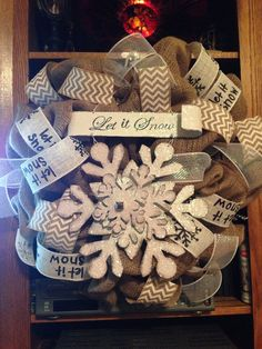 HOLIDAY Burlap let it snow winter wreath by ShelbyColemanCrafts, $65.00