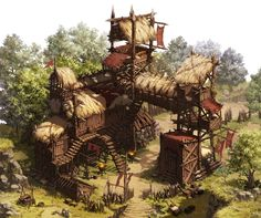 forest camp outpost landscape location environment architecture | Create your own roleplaying game material w/ RPG Bard: www.rpgbard.com | Writing inspiration for Dungeons and Dragons DND D&D Pathfinder PFRPG Warhammer 40k Star Wars Shadowrun Call of Cthulhu Lord of the Rings LoTR + d20 fantasy science fiction scifi horror design | Not Trusty Sword art: click artwork for source