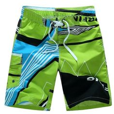 Simple Color Curved Flags Mens Beach Shorts Quick Dry Running Trunks with 3 Pockets