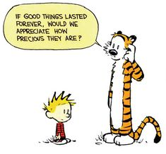 Calvin and Hobbes - If good things lasted forever, would we appreciate how precious they are?  Enjoy your Labor Day!  DA 9-1-14