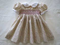 Sweet Hand Smocked Yellow Floral Dress for Baby Girl on Etsy, £32.63