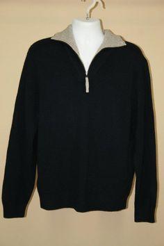 NWT $225 Daniel Cremieux Signature 100% Mongolian Cashmere Half Zip Sweater sz L #DanielCremieuxSignatureCollection #12Zip