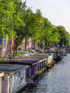 #amsterdamstroller:    A view of the houseboats on a canal in Amsterdam. When strolling the canal you may see many different types