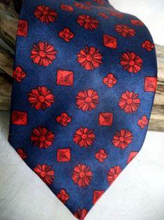 "LANVIN Silk Necktie Paris Skinny Insignia Royal Cartouche Classic Blue Crimson Collector Mens Regency 3.5"" x 56"" Tie Mens Gift Casual Formal"