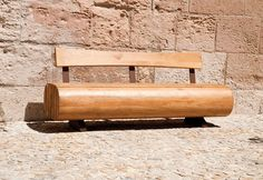 Public bench / original design / in wood / with backrest MIGRATION by Agence APS CYRIA